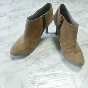 DKNY Side Zip Taupe Stiletto Heeled Ankle Boots